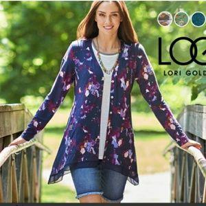 LOGO Lori Goldstein printed button cardigan large